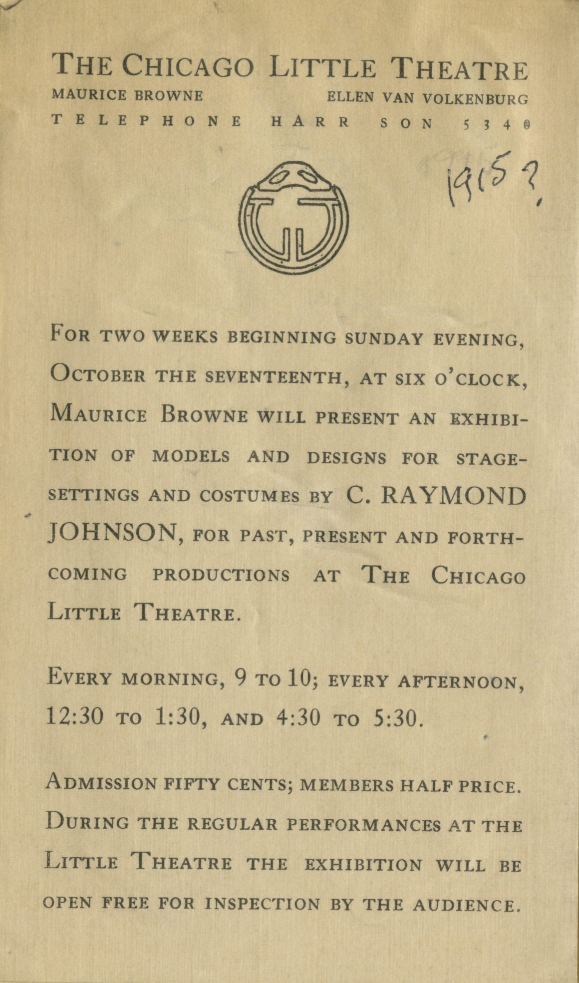 Chicago Little Theatre Exhibition of Models and Designs for Stage Settings, 1915