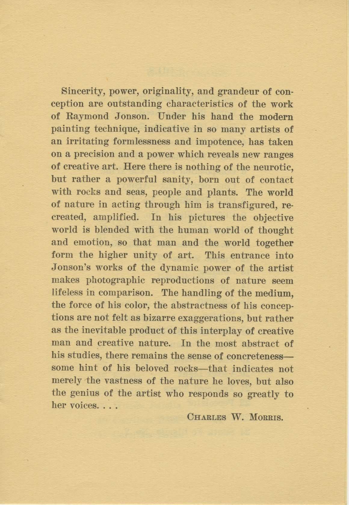 Brochure for Exhibition of Oils, Watercolors and Drawings by RaymondJonson at the Museum of Fine Arts of Houston, February 5th to 27th, 1928.