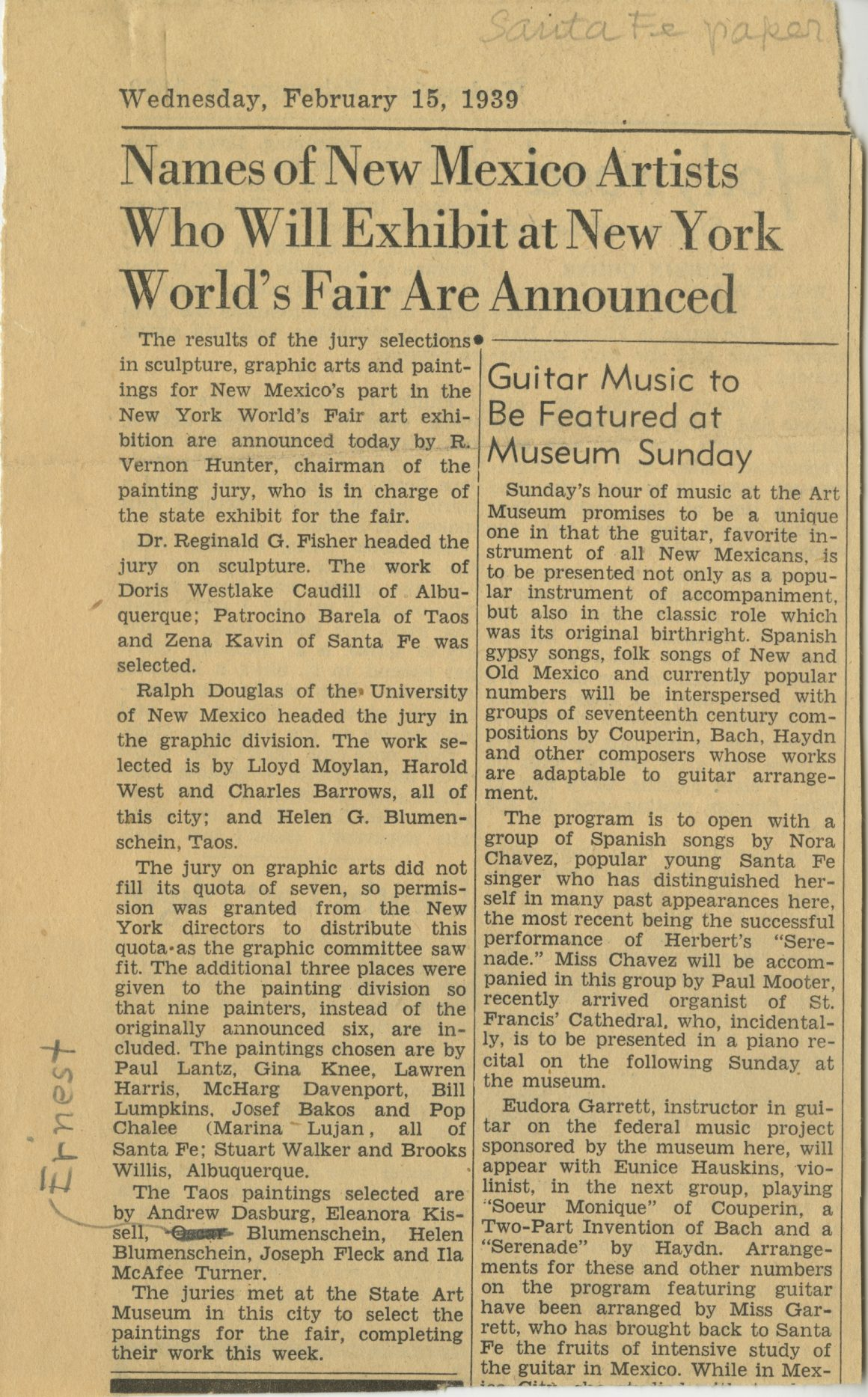 """1939 Article from the Santa Fe paper, """"Names of New Mexico Artists Who Will Exhibit at New York World's Fair Are Announced"""""""