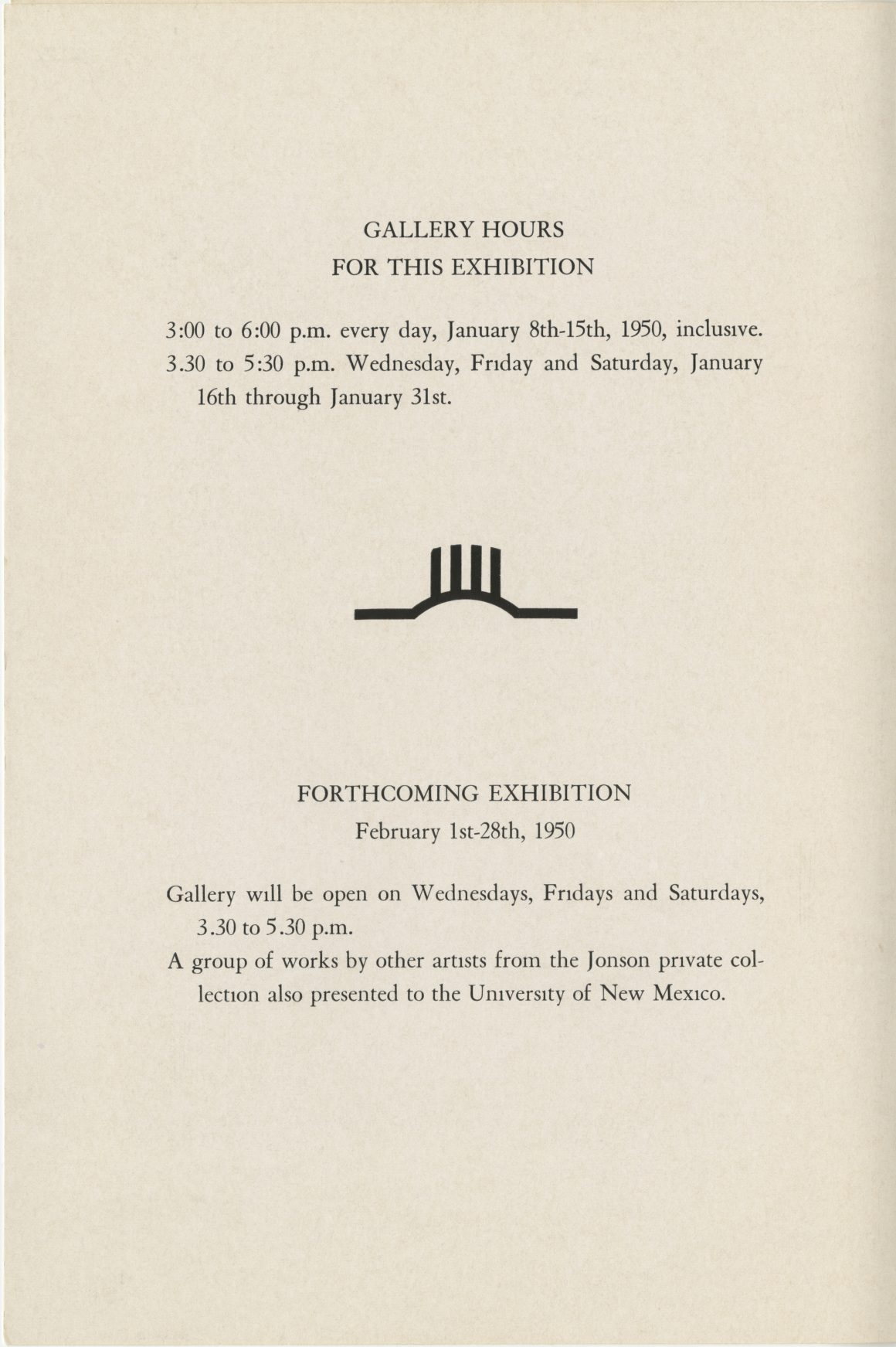 Exhibition brochure for First Exhibition Jonson Gallery at the University of New Mexico, February 1st - 28th, 1950.