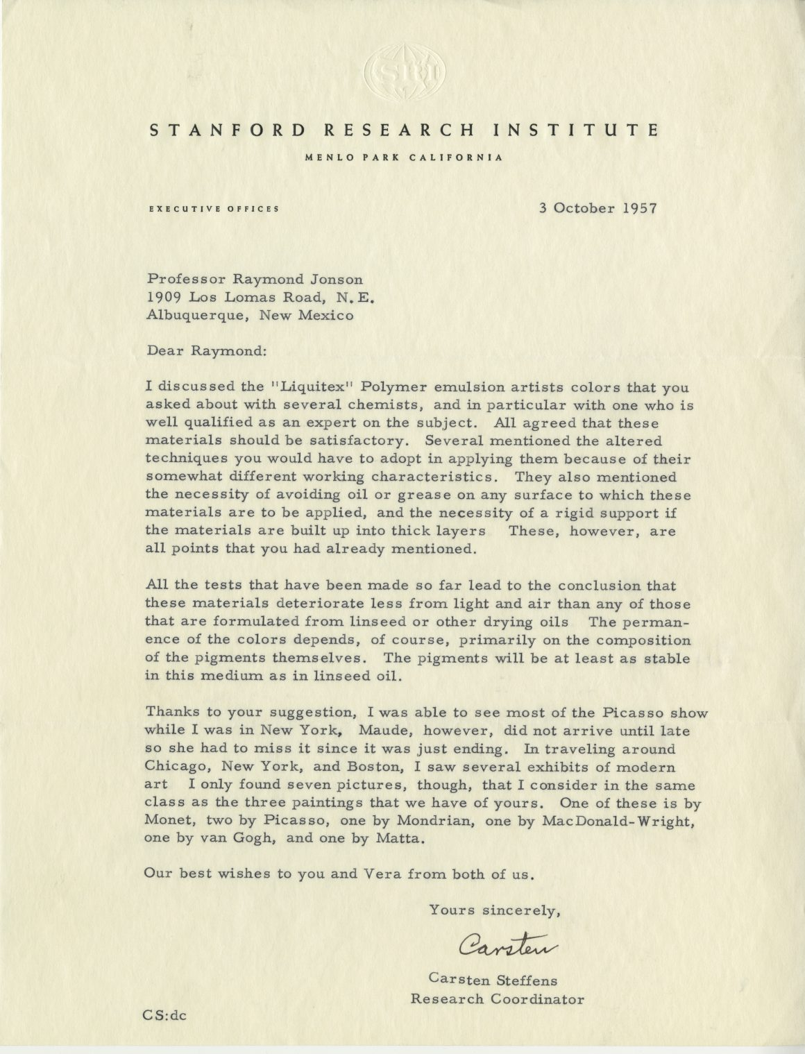 """Scan of a letter from Carsten Steffens, Research Coordinator at Stanford Research Institute to Raymond Jonson in 1957 about """"Liquitex"""" Polymer emulsion artists colors."""