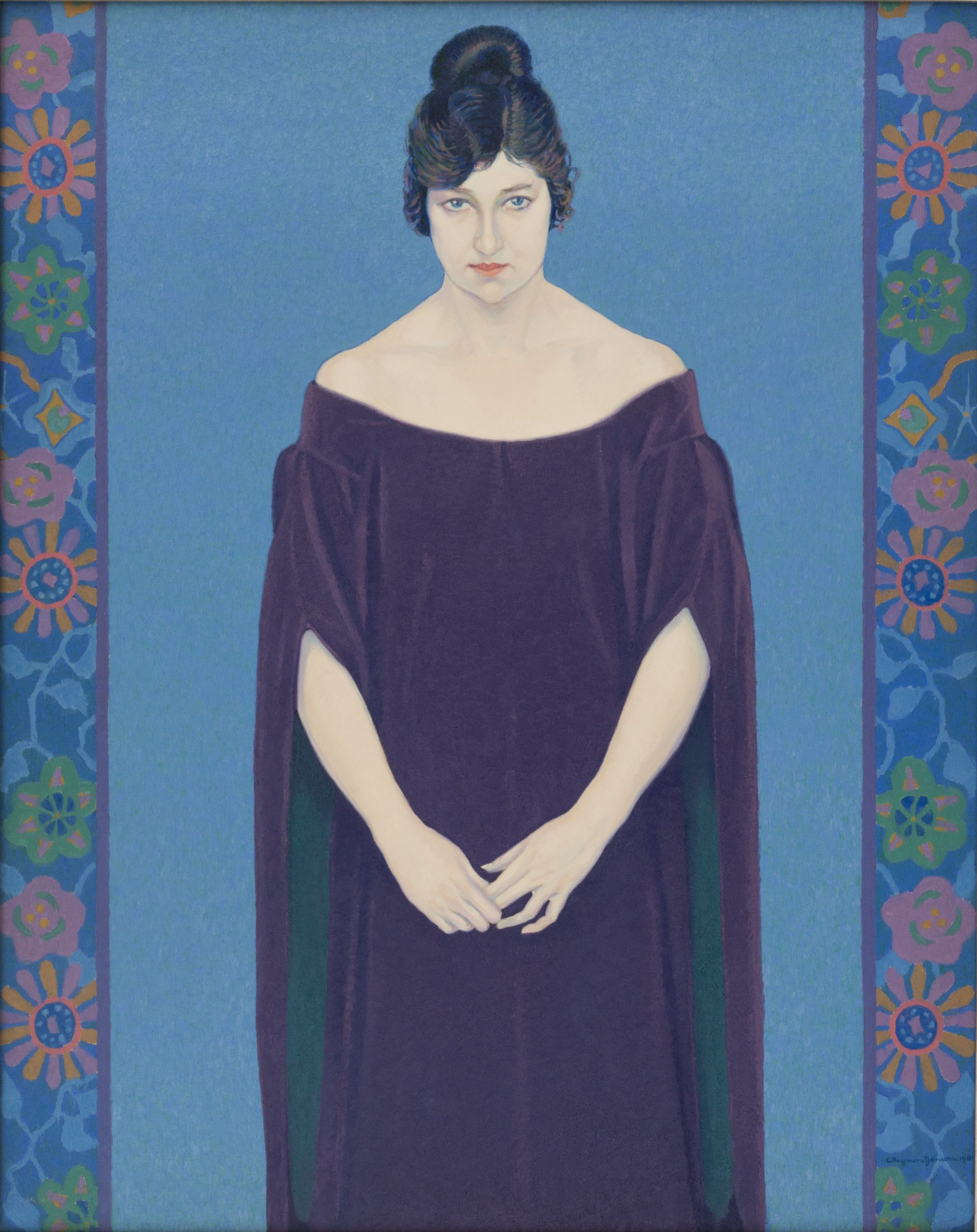 """Image of """"The Lady (Mary Williams), 1918"""", an oil painting on canvas by Raymond Jonson."""