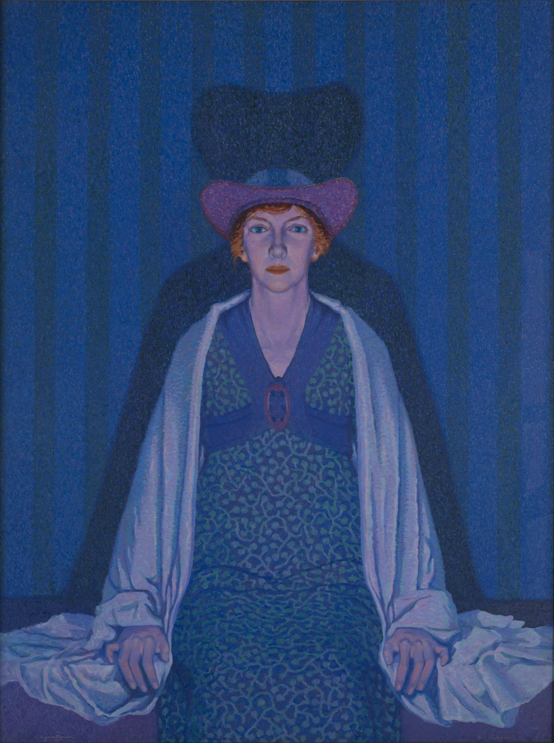 """Image of """"Violet Light (The Artist's Wife, Vera), 1918,"""" an oil painting on canvas by Raymond Jonson."""
