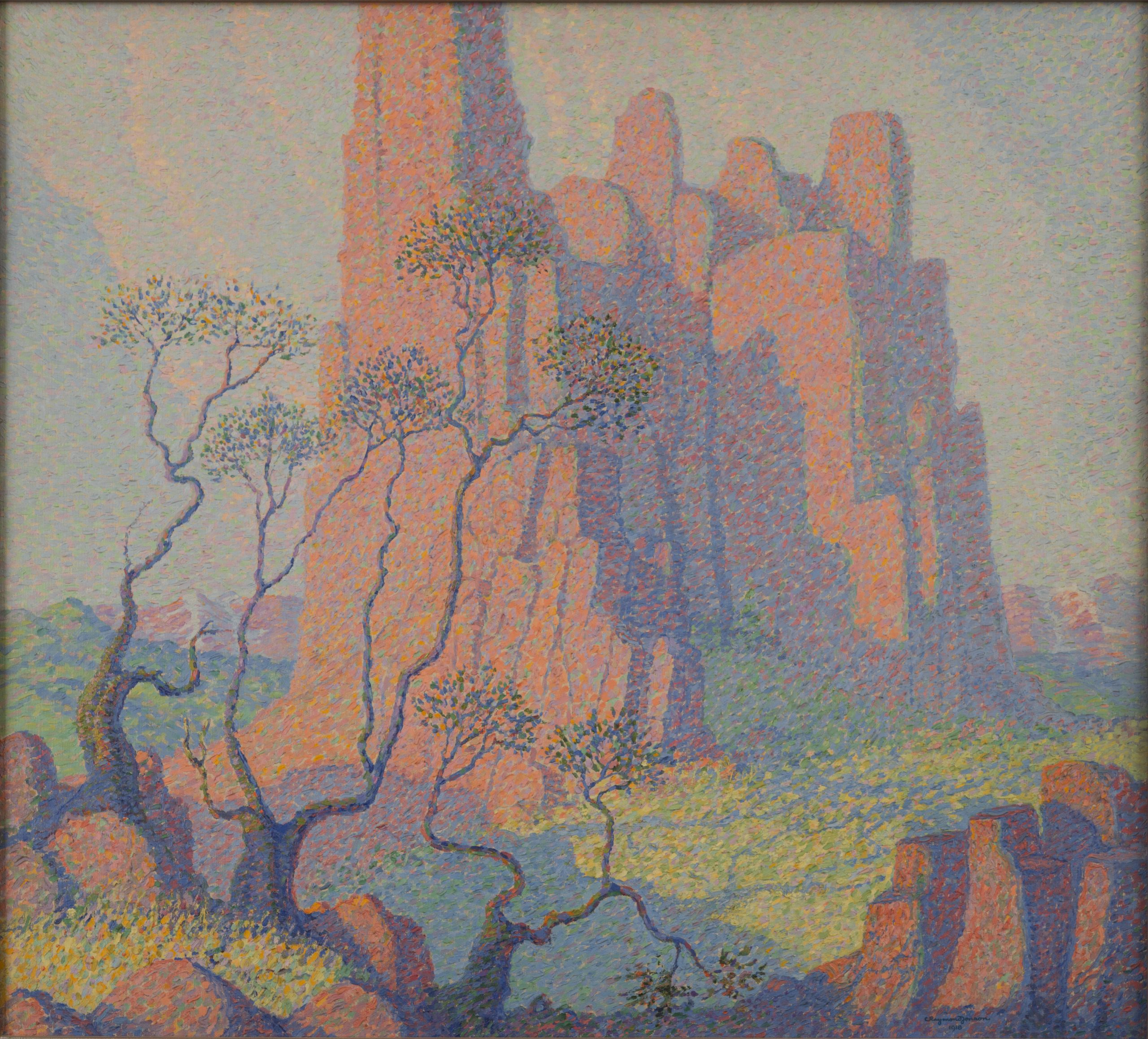 Red Rocks - Colorado, 1918, an oil painting on canvas by Raymond Jonson.