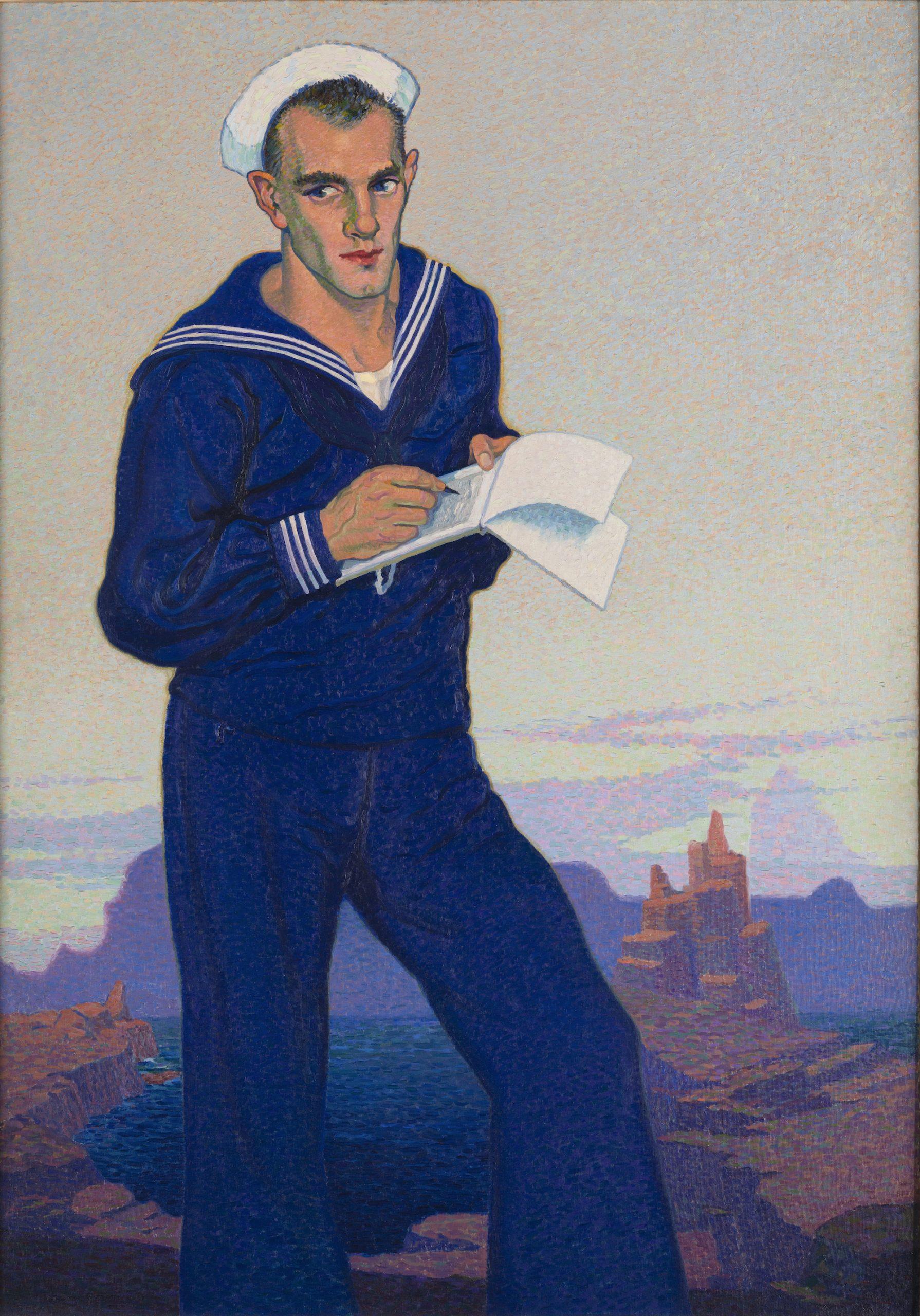"""Image of """"The Sailor (Eric Johan Smith), 1919,"""" an oil painting on canvas by Raymond Jonson."""