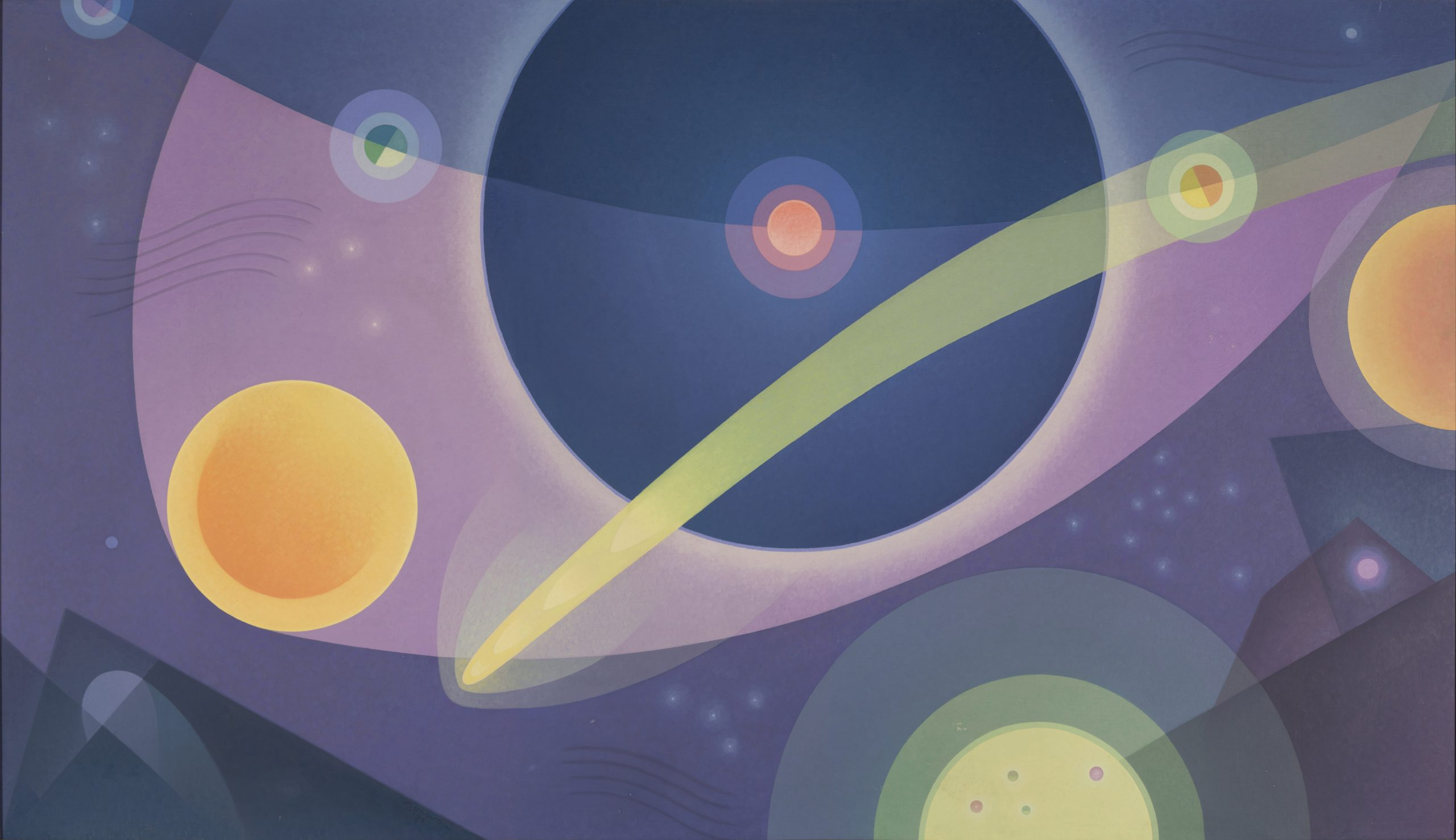 Astronomy from the series The Cycles of Science, 1934, Oil on canvas, Acquired through the Works Progress Administration (WPA) of the Federal Government, Raymond Jonson Collection