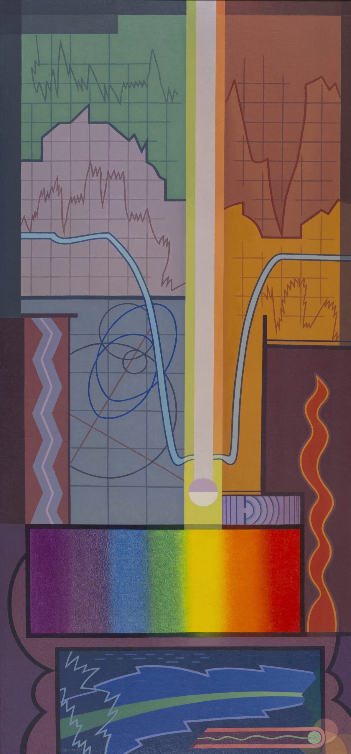 Physics from the series The Cycles of Science, 1934, Oil on canvas, Acquired through the Works Progress Administration (WPA) of the Federal Government, Raymond Jonson Collection