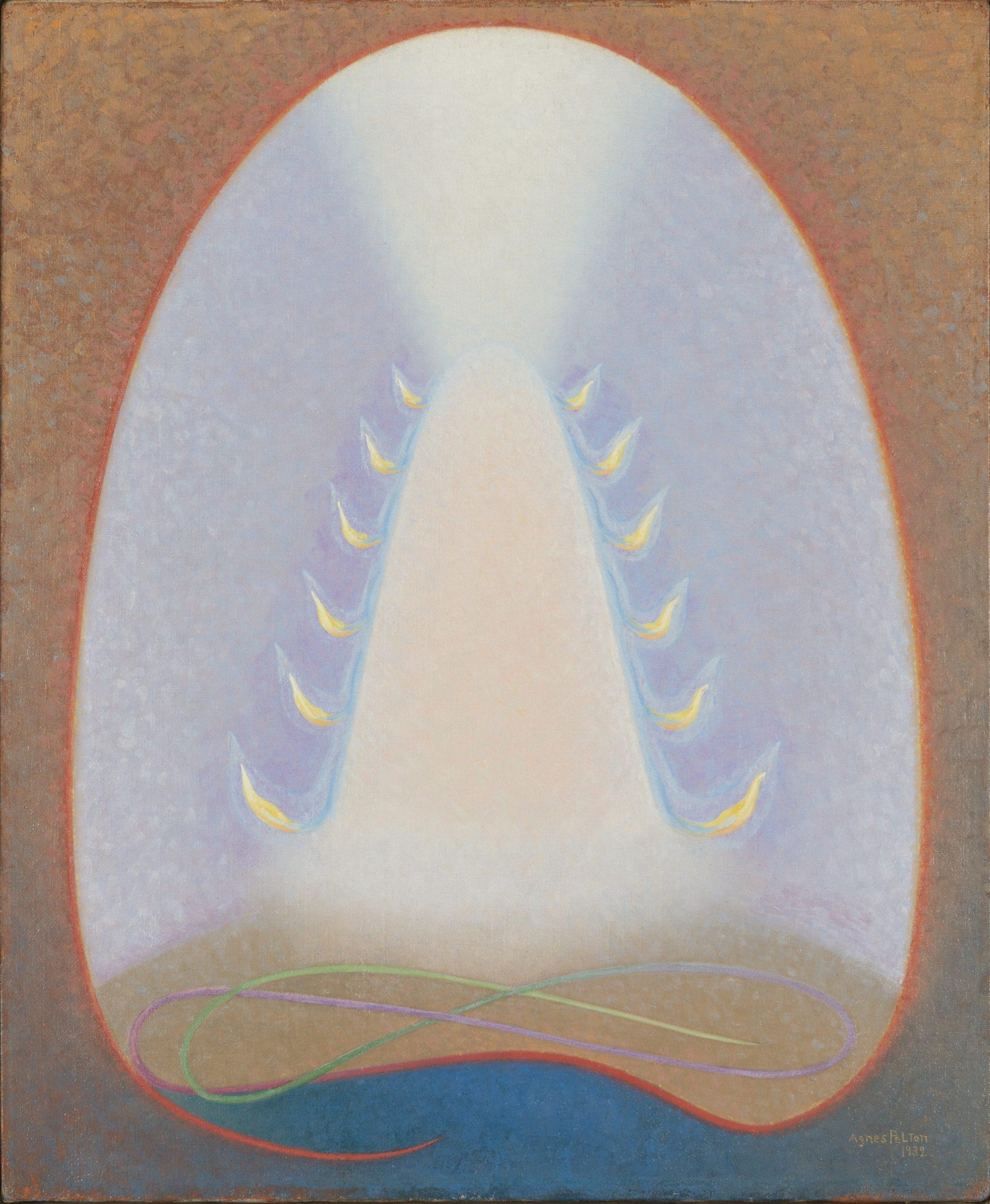 Agnes Pelton, Mount of Flame, 1932, Oil on canvas, Bequest of Raymond Jonson, Raymond Jonson Collection