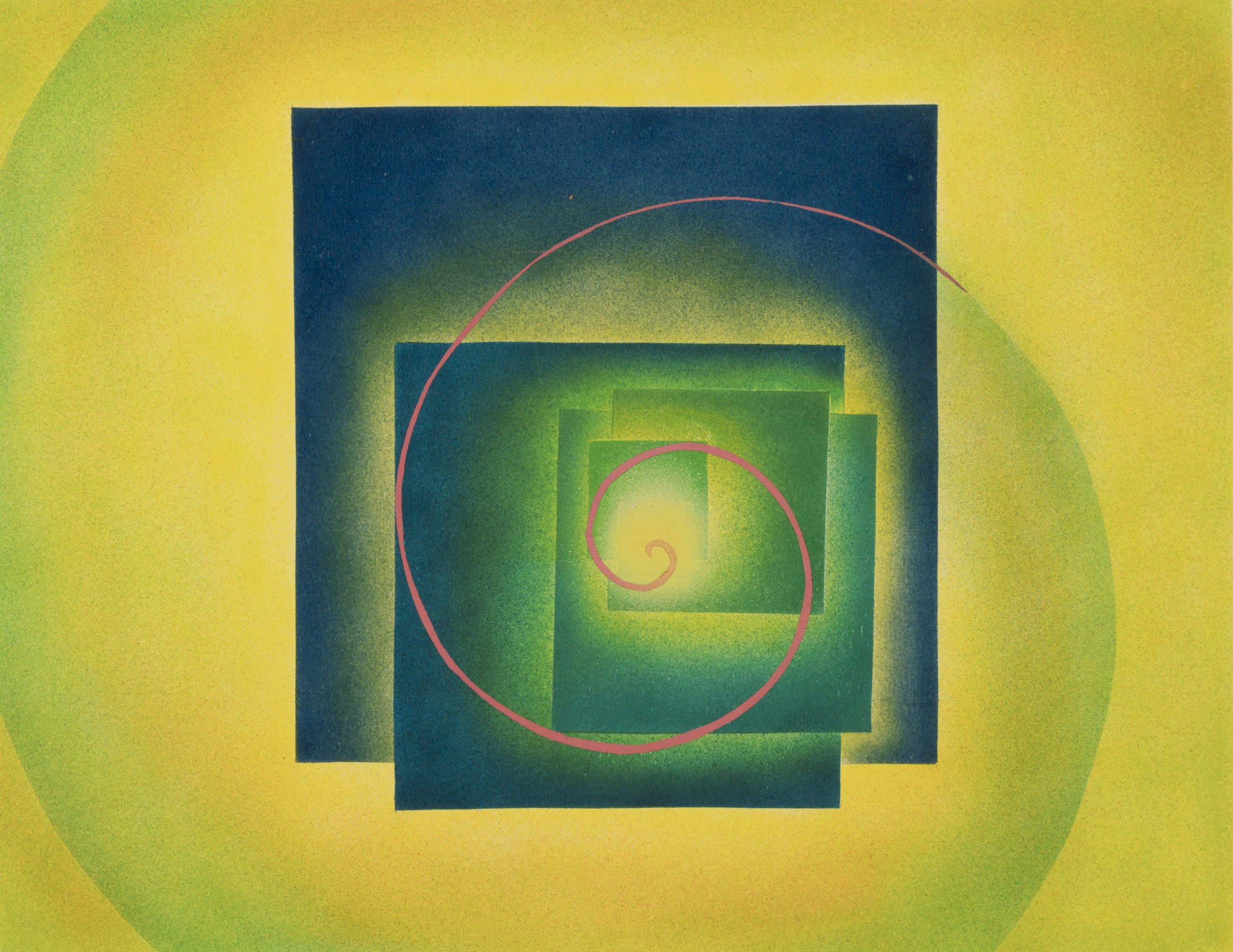 Horace Towner Pierce, Frame 12, Second Movement, (the Crystal) from The Spiral Symphony, 1938, Watercolor on paper, Purchase with funds from the Edith Gregg Bequest, Raymond Jonson Collection