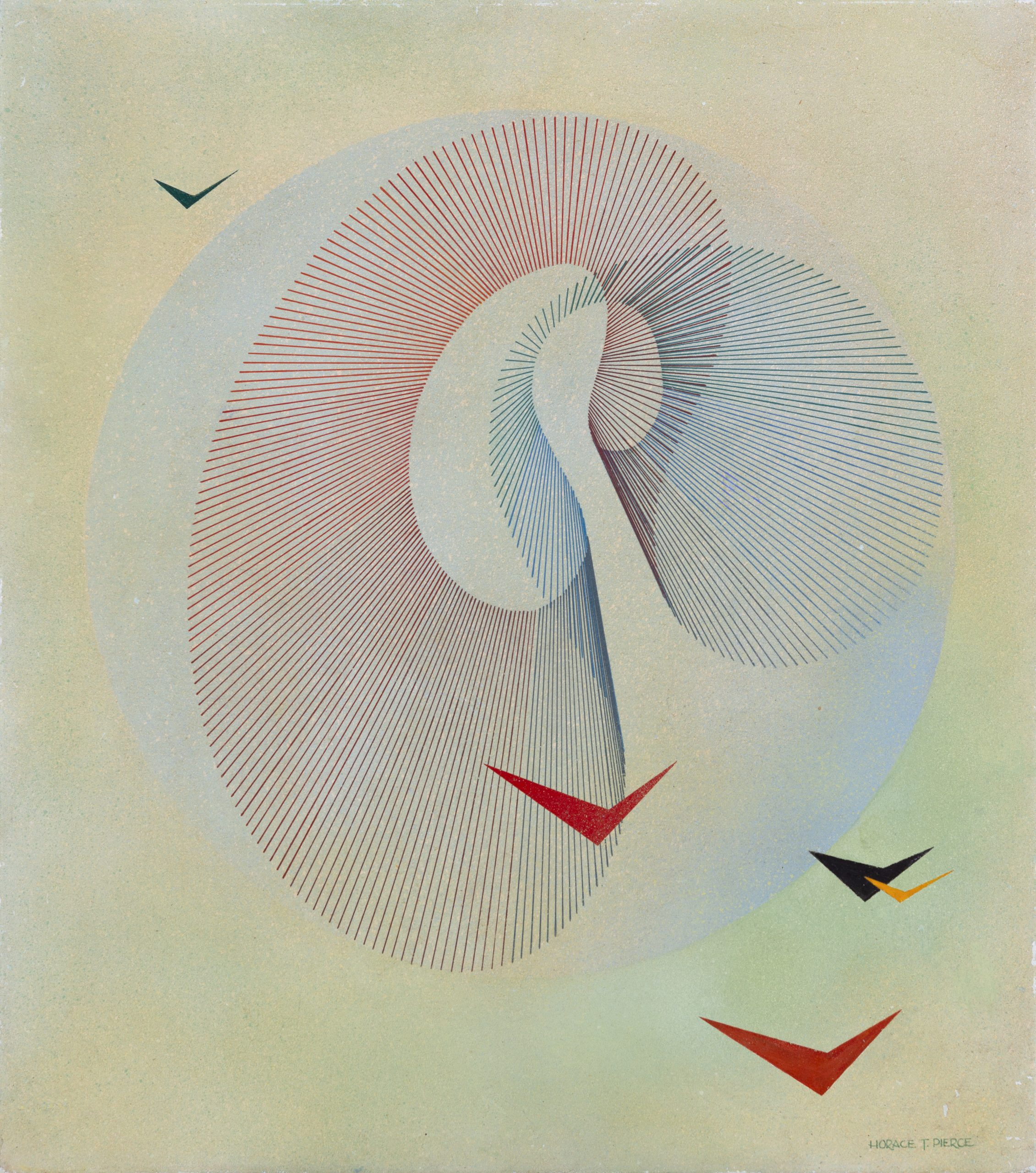 Horace Towner Pierce, Untitled, c. 1940 - 1955, Airbrushed paint on Masonite panel, Gift of Florence Miller Pierce to the Raymond Jonson Collection