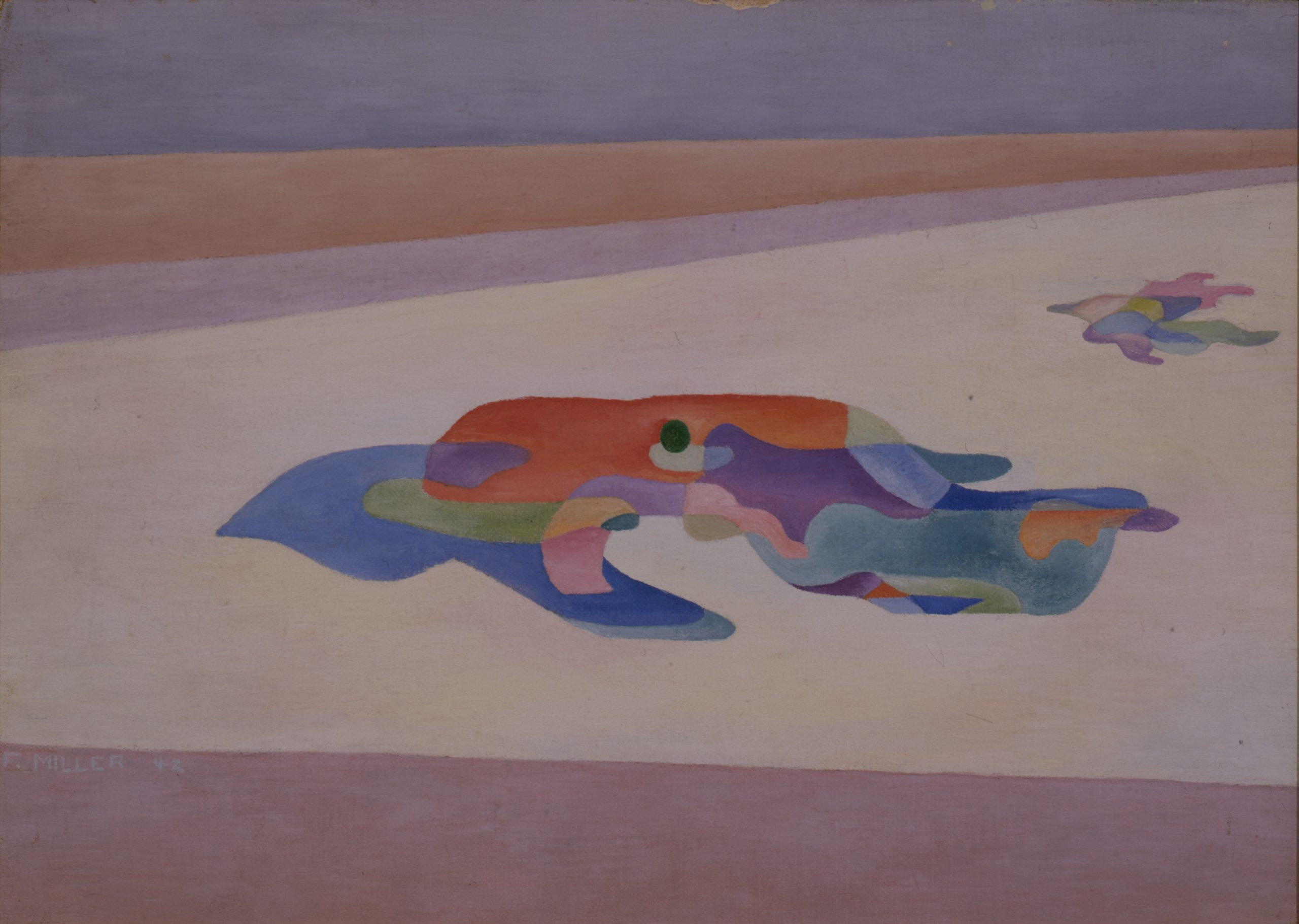 Florence Miller Pierce, Untitled (Descent), 1942, Oil on canvas board, Gift of the artist to the Raymond Jonson Collection