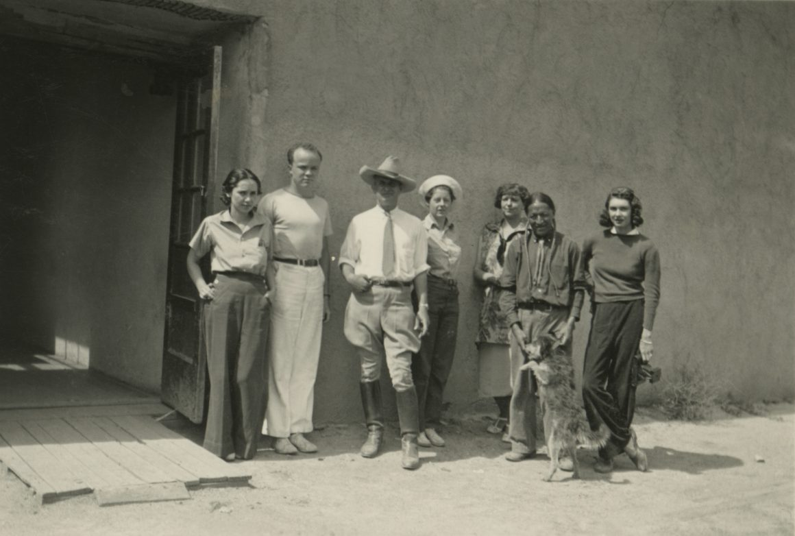 From L to R: Polly; Horace Towner Pierce; Emil Bisttram; Eleanor; ?; Model; Florence Miller Pierce 1936, Taos