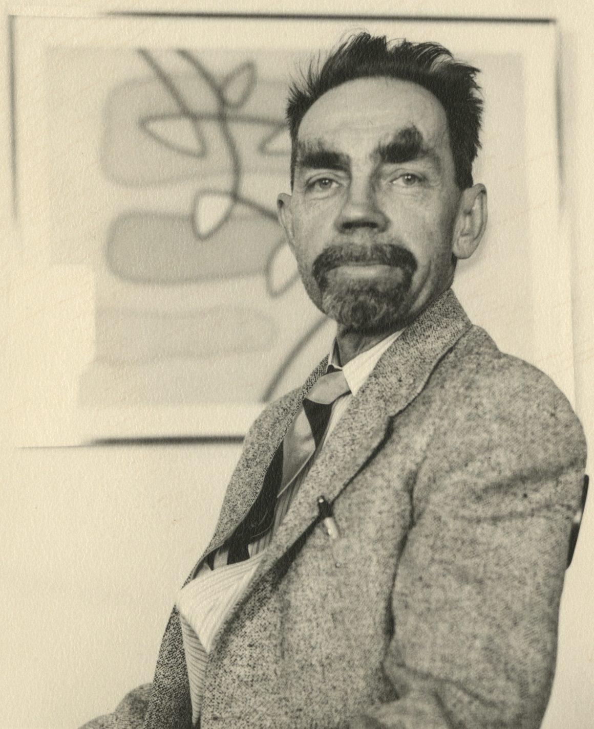 Photograph of artist Raymond Jonson in 1950.