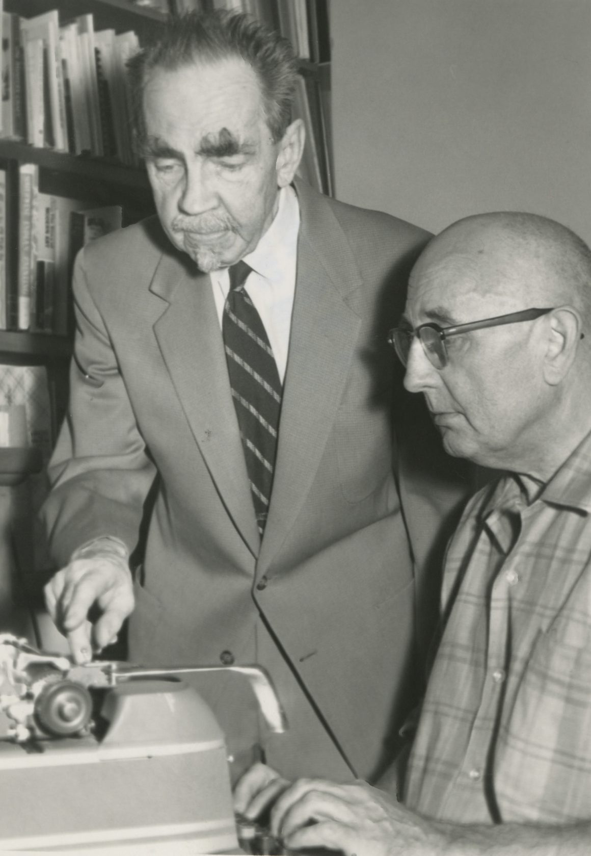 Black and white photograph of Raymond and Arthur Jonson in 1963.