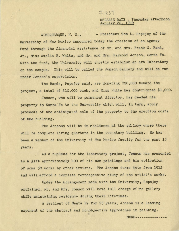 Press Release for Jonson Gallery, 1949.