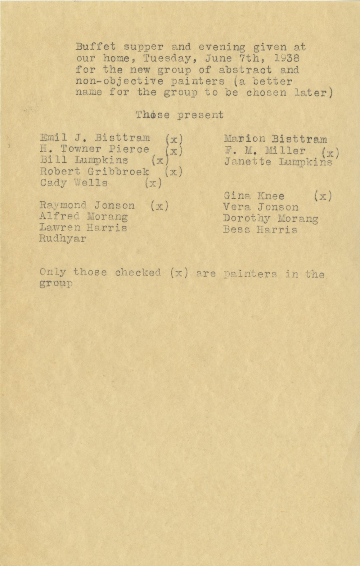 List of attendees of the first Transcendental Painting Group meeting, June 7, 1938.