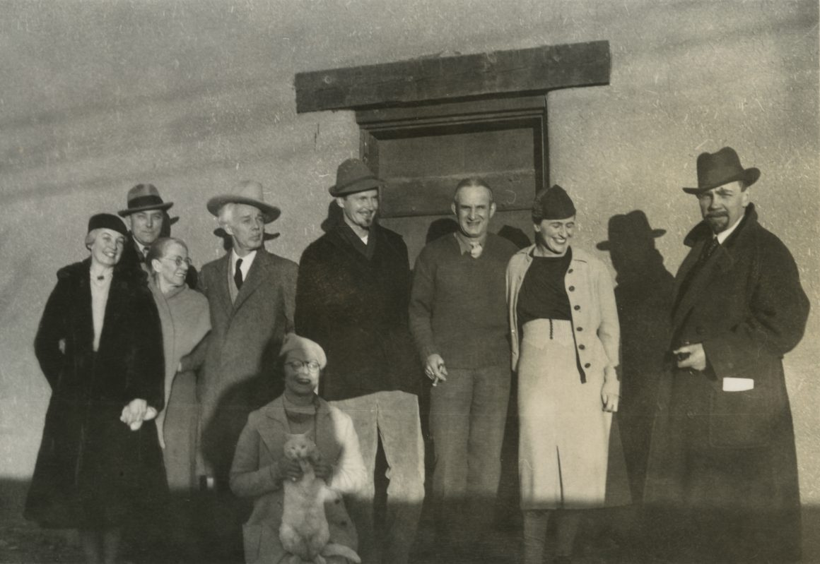 From left to right: Bess Harris; RS Hewton; Mayrion's mother; Lawren Harris; Mayrion Bisttram; Robert Gribbroek; Emil Bisttram; Isabel McLaughlin; Raymond Jonson, Taos, Nov 1938