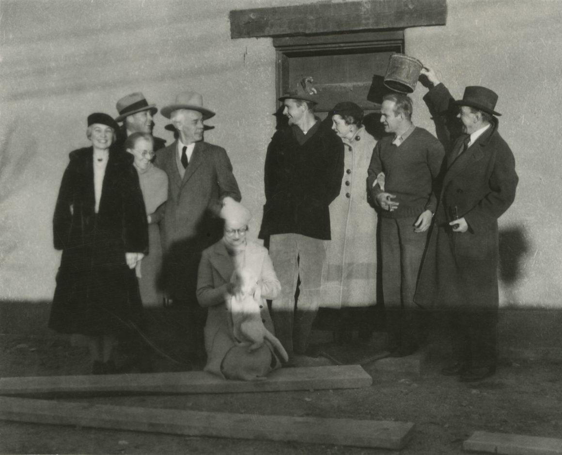 From left to right: Bess Harris; RS Hewton; Mayrion's mother; Lawren Harris; Mayrion Bisttram; Robert Gribbroek; Benny Hewton; Emil Bisttram; Raymond Jonson, Taos, Nov 1938
